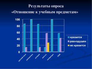 Результаты опроса «Отношение к учебным предметам»