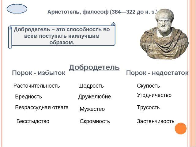 Аристотель, философ (384—322 до н. э.) Добродетель – это способность во всём...