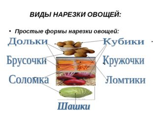 ВИДЫ НАРЕЗКИ ОВОЩЕЙ: Простые формы нарезки овощей: