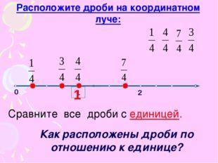1 0 2 Сравните все дроби с единицей. Расположите дроби на координатном луче: