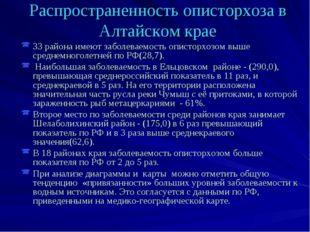 Распространенность описторхоза в Алтайском крае 33 района имеют заболеваемост