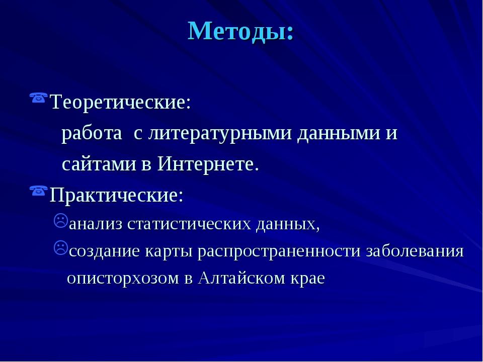 Методы: Теоретические: работа с литературными данными и сайтами в Интернете....