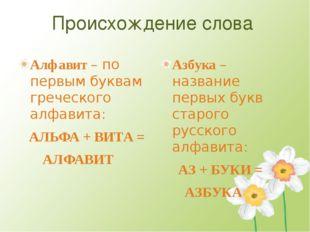 Происхождение слова Алфавит – по первым буквам греческого алфавита: АЛЬФА + В