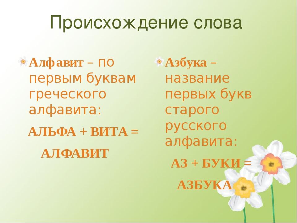 Происхождение слова Алфавит – по первым буквам греческого алфавита: АЛЬФА + В...