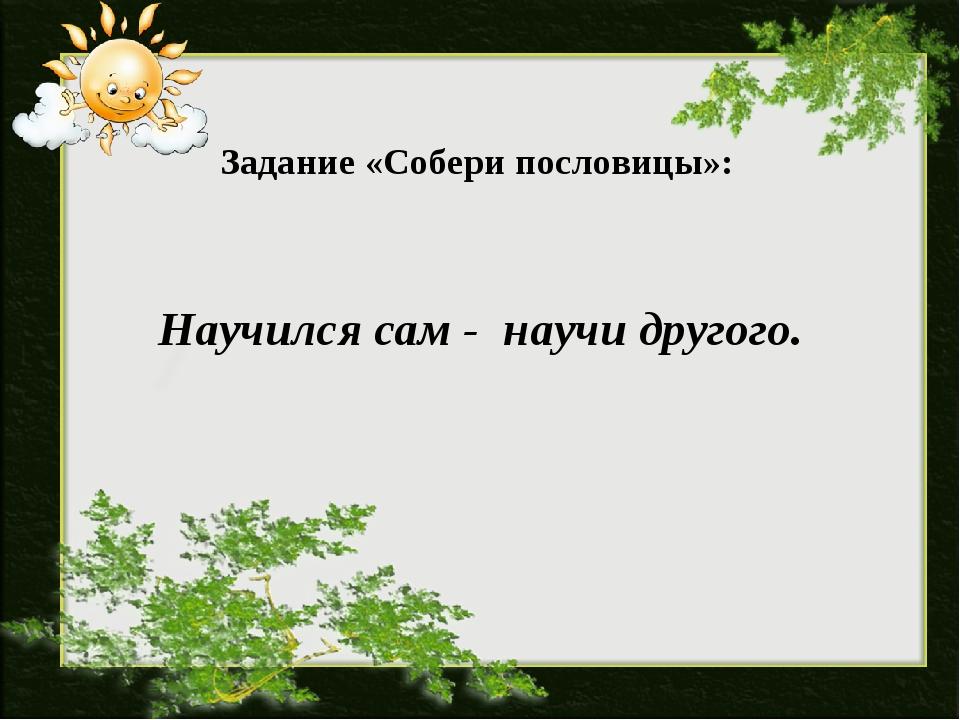 Задание «Собери пословицы»: Научился сам - научи другого.