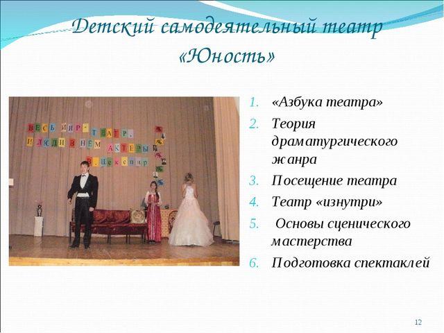 Детский самодеятельный театр «Юность» * «Азбука театра» Теория драматургическ...