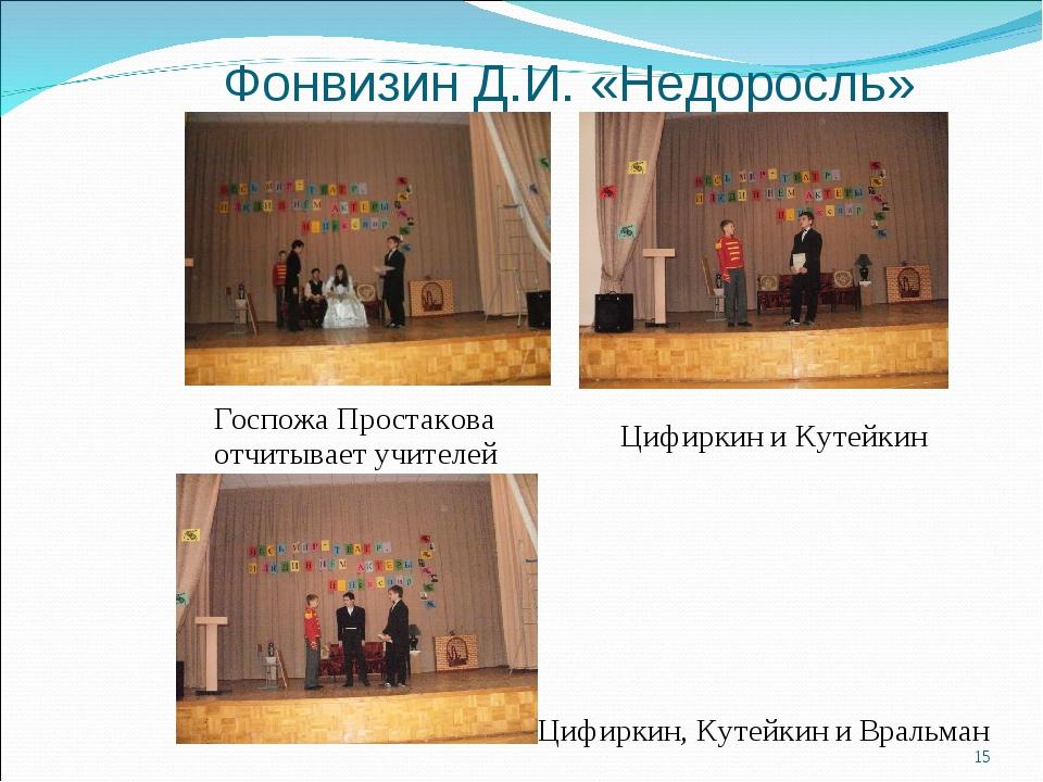 Фонвизин Д.И. «Недоросль» Госпожа Простакова отчитывает учителей Цифиркин и К...