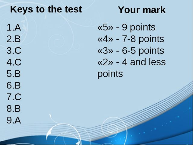 Keys to the test A B C C B B C B A Your mark «5» - 9 points «4» - 7-8 points...