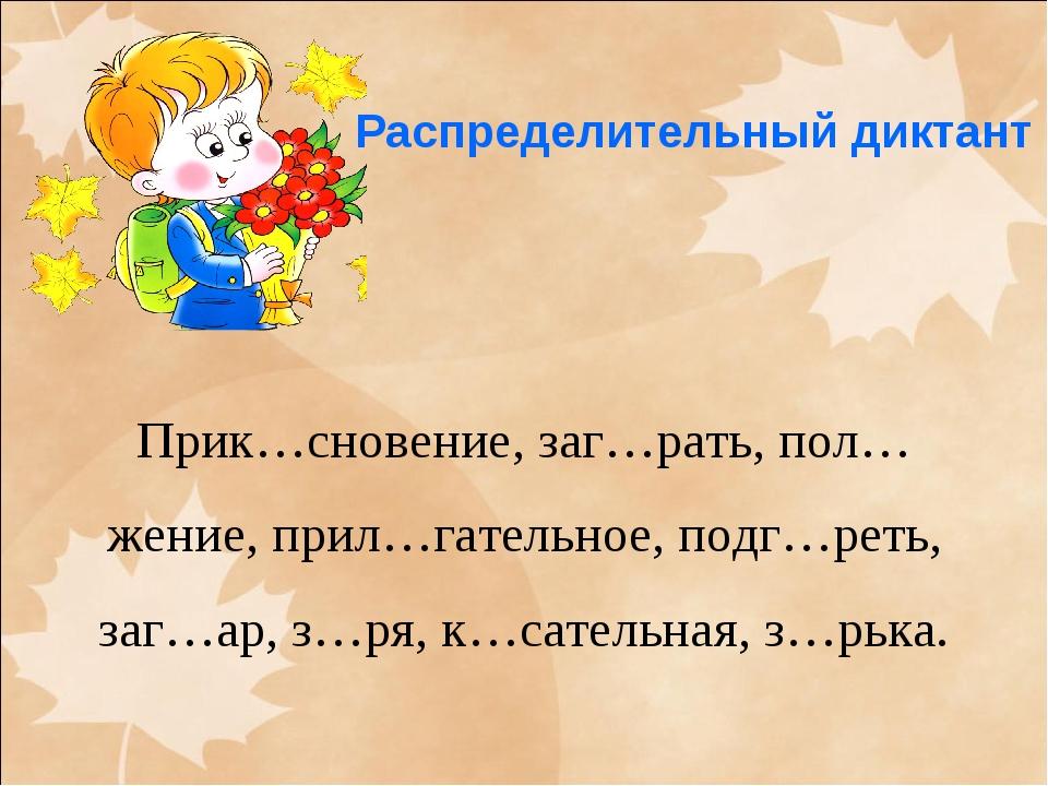 Распределительный диктант Прик…сновение, заг…рать, пол…жение, прил…гательное...
