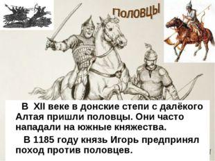 В XII веке в донские степи с далёкого Алтая пришли половцы. Они часто напада