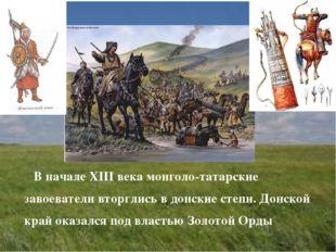 В начале XIII века монголо-татарские завоеватели вторглись в донские степи.