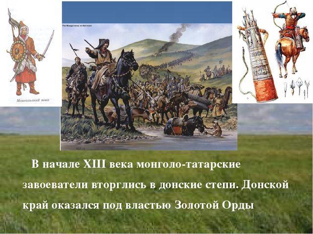 В начале XIII века монголо-татарские завоеватели вторглись в донские степи....