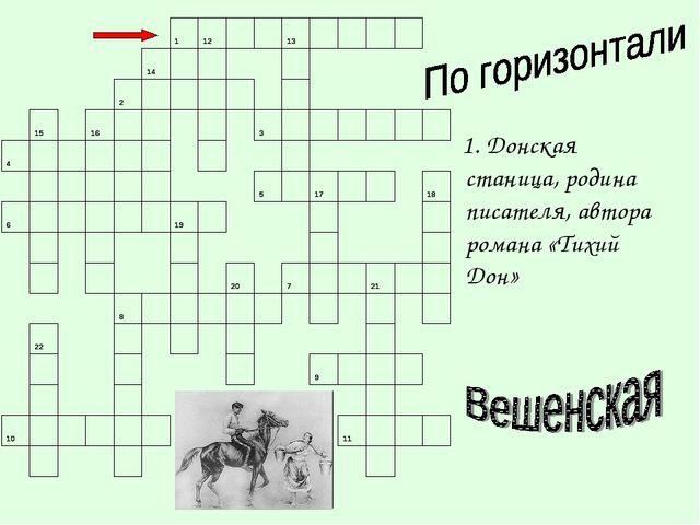 1. Донская станица, родина писателя, автора романа «Тихий Дон»