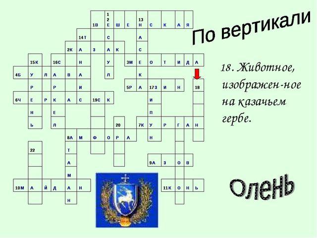 18. Животное, изображен-ное на казачьем гербе.