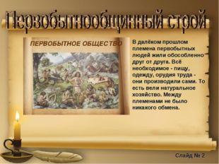 В далёком прошлом племена первобытных людей жили обособленно друг от друга. В
