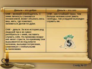 Слайд № 22 Деньги – это доброДеньги – это зло ОНИ – великий освободитель. С