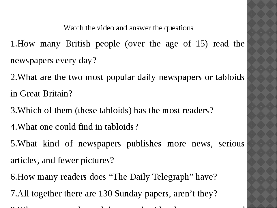 Watch the video and answer the questions 1.How many British people (over the...