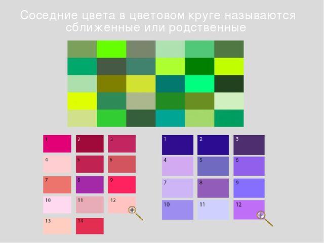 Соседние цвета в цветовом круге называются сближенные или родственные