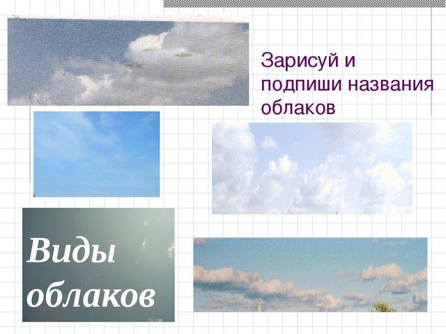 Зарисуй и подпиши названия облаков Виды облаков