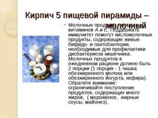 Кирпич 5 пищевой пирамиды – молочный  Молочные продукты - источник витаминов