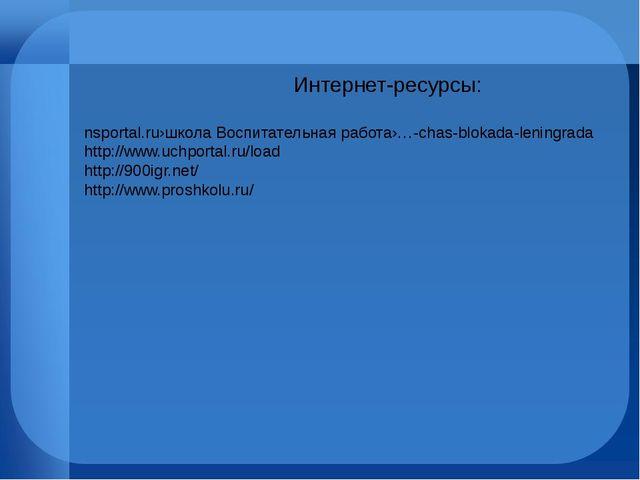 Интернет-ресурсы: nsportal.ru›школа Воспитательная работа›…-chas-blokada-len...