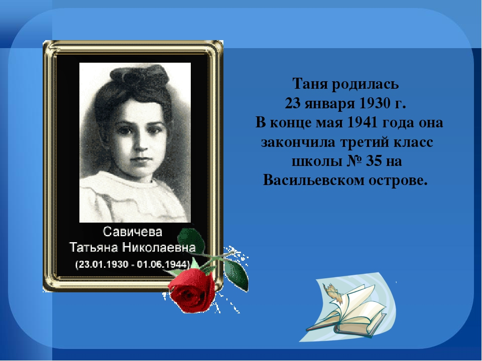Таня родилась 23 января 1930 г. В конце мая 1941 года она закончила третий кл...