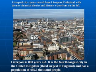 Liverpool city centre viewed from Liverpool Cathedral, with the new financial