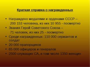Краткая справка о награжденных Награждено медалями и орденами СССР – 200 15