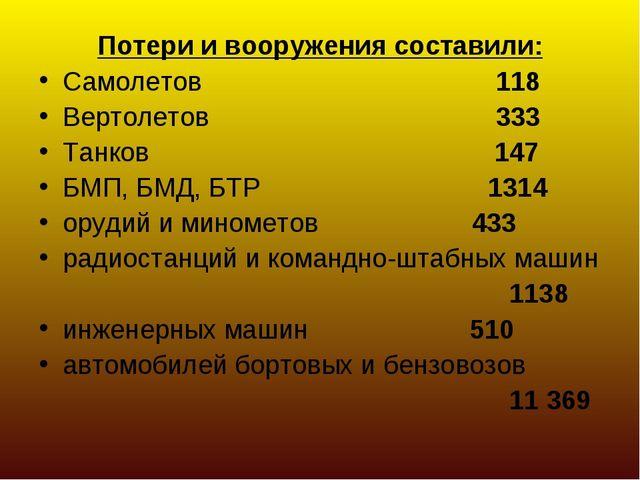 Потери и вооружения составили: Самолетов 118 Вертолетов 333 Танков 147 БМП, Б...
