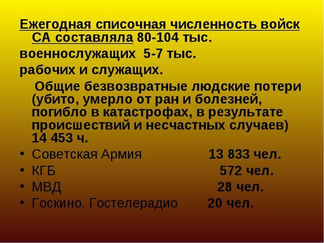 Ежегодная списочная численность войск СА составляла 80-104 тыс. военнослужащи...