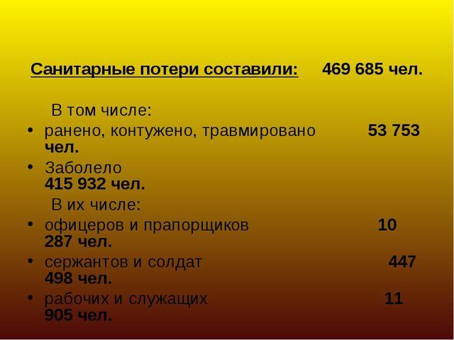 Санитарные потери составили: 469 685 чел. В том числе: ранено, контужено, тра...