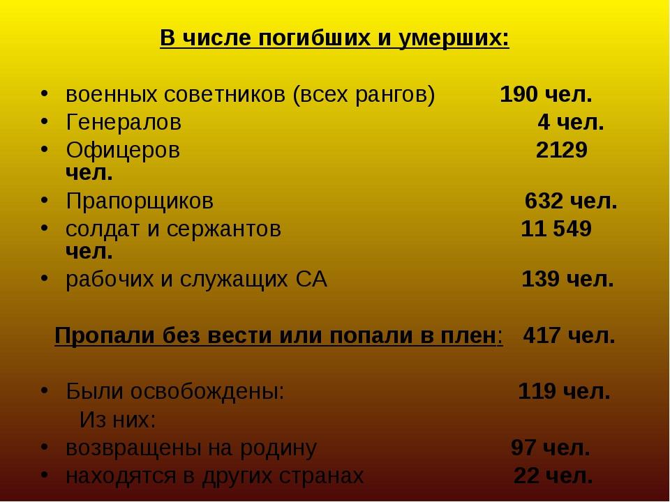 В числе погибших и умерших: военных советников (всех рангов) 190 чел. Генерал...
