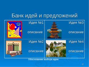 * Банк идей и предложений Обоснование выбора идеи. Идея №1 описание Идея №3