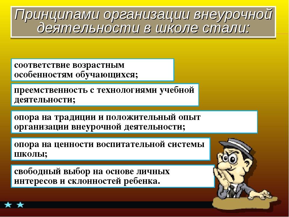 Принципами организации внеурочной деятельности в школе стали: соответствие во...