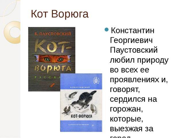Кот Ворюга Константин Георгиевич Паустовский любил природу во всех ее проявле...