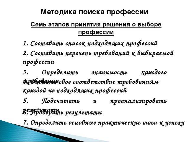 Методика поиска профессии Семь этапов принятия решения о выборе профессии 1....