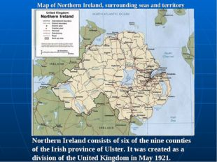 Map of Northern Ireland, surrounding seas and territory Belfast Northern Irel