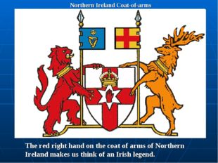 Northern Ireland Coat-of-arms The red right hand on the coat of arms of North