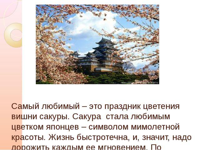 Самый любимый – это праздник цветения вишни сакуры. Сакура стала любимым цве...