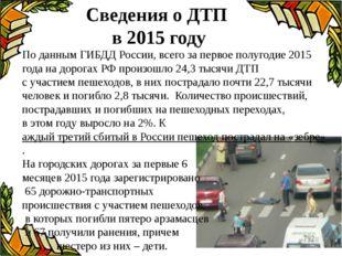 Сведения о ДТП в 2015 году По данным ГИБДД России, всего запервое полугодие