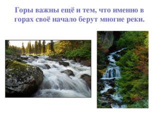 Горы важны ещё и тем, что именно в горах своё начало берут многие реки.