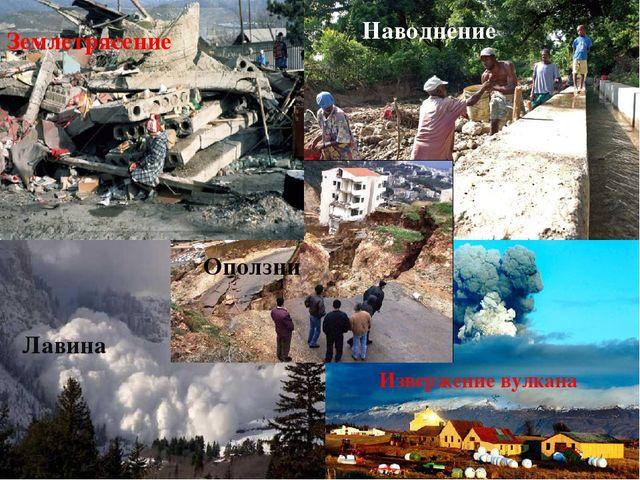 Извержение вулкана Оползни Наводнение Лавина Землетрясение Наводнение