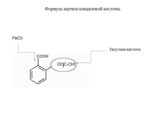 Формула ацетилсалициловой кислоты. FeCl₃ j OOC-CH₃ Уксусная кислота