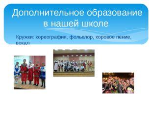 Кружки: хореография, фольклор, хоровое пение, вокал Дополнительное образовани