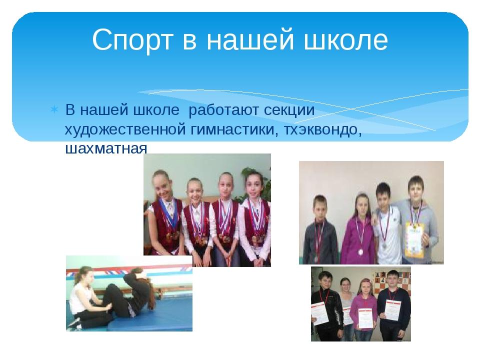 В нашей школе работают секции художественной гимнастики, тхэквондо, шахматная...