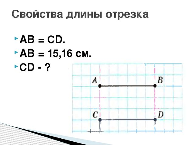 AB = CD. AB = 15,16 см. CD - ? Свойства длины отрезка