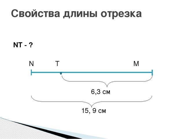 NT - ? N T M 6,3 см 15, 9 см Свойства длины отрезка