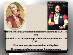 Чепега Захарий Алексеевич (предположительно 1726-1797 гг.) Кошевой атаман Че