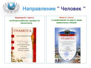 """Направление """" Человек """" Наумова И. I место на Всероссийском турнире по баскет"""