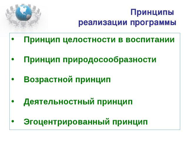 Принципы реализации программы Принцип целостности в воспитании Принцип природ...